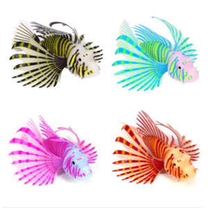 실리콘 물고기 장식 글로우 어두운 발광 시뮬레이션 물고기 lionfish입니다 수족관 인공 물 탱크 새로운 도착 6 9sl의 C2