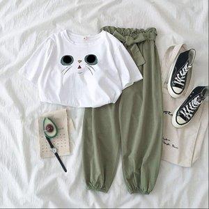 20 verão T-shirt grande branco calças perna larga T-shirt com calças wide-perna set Internet celebridade temperamento emagrecimento estilo ocidental coreano-chiqueiro