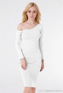 Проектировщик одно плечо Женские платья Повседневная одежда Щитовые с Ruched Spring Pure Color Women Dress Мода
