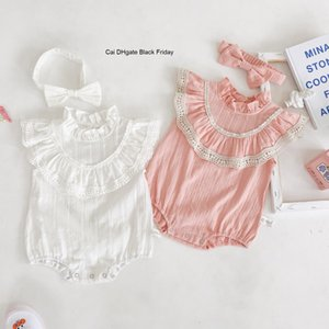 Newborn Baby Girls Rompers Summer Infant Girl Clothes Cotton Lace Baby Ruffles Jumpsuit With Headband Princess Toddler Outfits
