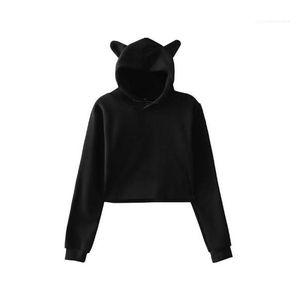 Pullover Cute Cat Ear Crop Hoodies Women Solid Color Long Sleeve Fleece Hooded Sweatshirts Girls Spring