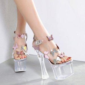 18cm ultra yüksek topuklu şeffaf PVC kristal kelebek sandalet kalın topuk 8 cm platformu gelin yaz düğün ayakkabıları