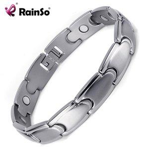 RainSo Trendy soins de santé magnétique Bracelets Titane Bracelets pour hommes Bio énergie de guérison Hologram Lien Bandeaux Chain