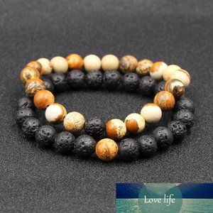 Lava Natural Stone Beaded Bracelets for Men Women Best Friend 2Pcs Set Classic Couples Distance Charm Lovers Couple Bead Bracelet