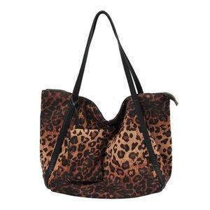 Trabajo Mabula bolsa de asas de gran capacidad leopardo de algodón de la señora bolsas de hombro ocasional de la manera Hangbag con el pequeño bolsillo Embragues