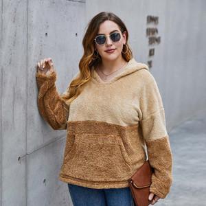 Plus Size Frauen Hoodie Tops Herbst-Winter-Mode Pocket Color Matching Wärme starke mit Kapuze Plüsch Hoodie