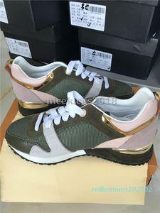 İndirim Lüks Tasarımcı Günlük Ayakkabılar Rockrunner Boş Ayakkabı Kadınlar Sneakers Mesh Deri Patchwork Flats Kızlar Ucuz En İyi Tenis R02