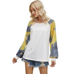 С длинным рукавом Футболка Мода Occident Trend вокруг шеи Сыпучие Tee Осень Дизайнер Женский Повседневный Топы Tshirts Женщины Tie Dye