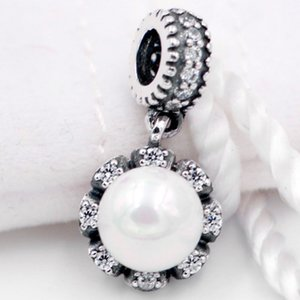 Original Everlasting Grace Pearl With Crystal Pendant Beads Fit 925 Sterling Silver Bead Charm Pandora Bracelet DIY Jewelry