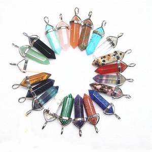 Charms en vrac 6 latéraux Pendulum Bullet Amethys Jade Malachite Oeil de tigre Collier pendentif en pierre naturelle Quartz pendentif en cristal Cristaux de guérison