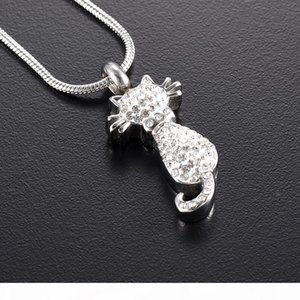 Beaux bijoux de crémation de souvenir pour les cendres de cristal Cat Memorial Ash Keepsake Collier Femme collier pendentif animaux Urne Bijoux