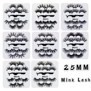 25mm Long false eyelashes thick 5 pairs set reusable hand made fake lashes extensions with tweezer retail packing 8 models available DHL