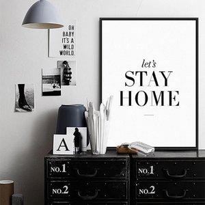 Özel Teklif En Moda Modern Let'S Stay Home Minimalist Tipografi Duvar Süsleme Salon Resimleri Boyama Alıntılar