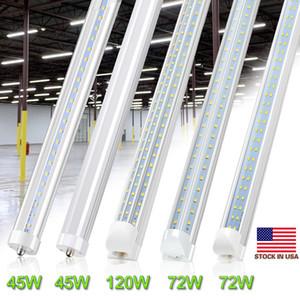 R17D FA8 8FT LED Tube Light Bulb 72W 7200LM 45W 4500LM Double Side V Shape Integrated 8 Foot LED Light Fixtures T8 LED Shop Lighting,