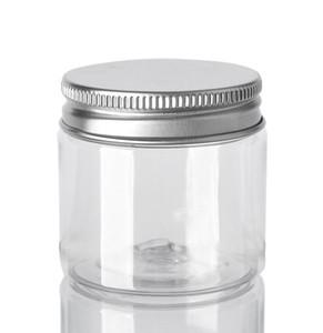 60 ml Kunststoff-Glas Transparent PET-Plastikaufbewahrungsdosen Behälter runde Flaschen mit Aluminium Lids Leere kosmetischen Glas Container GGA3644-3