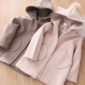 Зимние куртки для девочек с капюшоном трихобезоар шерсти Детская одежда 3 4 5 6 7 лет малышей Детская Верхняя одежда Мода шерстяное пальто Девочки Одежда CX200811