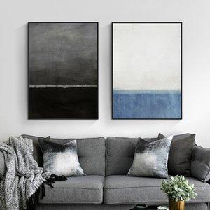 Özet Empresyonist Mavi ve Siyah Posterler Wall Art Canvas Resim Galeri Salon dekorasyon Ev Dekoru Baskı Boyama