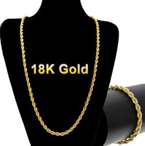 Hip Hop 18K Yellow Gold Plated Chain Necklace Men Jewelry 18-30 Inches Twist chain Necklace Chain Necklaces for Women Mens