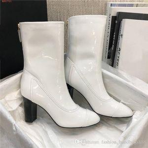 2020 High Heels Femmes Mode brillant en cuir verni Bottines femmes véritable Bottes en cuir avec boîte d'origine