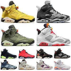 nike air jordan 6 retro jordans 6s Travis Scott hombres zapatos de baloncesto Hare Cactus Jack Denim Reflexiones de un tamaño Champion Sport azul zapatillas de deporte los 47