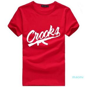 Crooks e castelos camisetas camisa Men algodão de manga curta camisa do homem T-Mens Carta CROOKS t Tops Camiseta