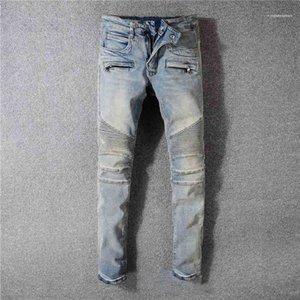 Омывается Длинные брюки мужские конструктора Distrressed середины талии карандаш брюки Роскошные мужские Blue Jeans Fashion плиссе
