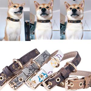 Padrão PU Leather Animais Coleiras ajustável Pet Cães Gatos trelas Outdoor Personalidade bonito Coleira Acessórios 4Color XS-XL