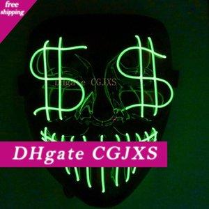 Хэллоуин Рождество Leading Night Light Mask Доллар Grimace Bloody El Party Line Mask Club Bar Dj Light Mask Full Cover Led