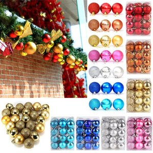 24pcs Christmas Tree Ornaments Balls for Party Festival Hanging Decorations DIY Baubles Plain glitter Balls