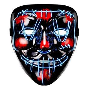 Máscaras Máscara de Halloween LED EL Party DJ Wire Light Up resplandor oscuro del partido del festival de película En el día de pago de Cosplay DHF1550