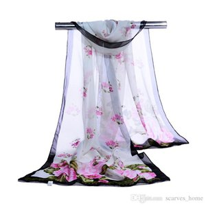Лето печати Шелковый шарф Крупногабаритные шифон шарф женщин парео Пляж Cover Up Wrap саронг Long Cape Женский