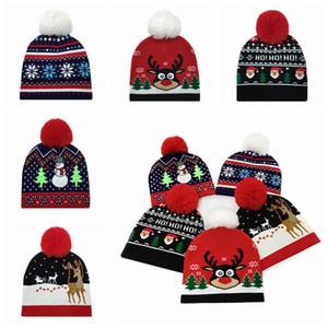 Christmas Beanies Hat Wool Knitted Kid Pom Pom Elk Santa Hats Baby Winter Warm Headwear Outdoor Cap Xmas Child Knitting Caps LJJP514