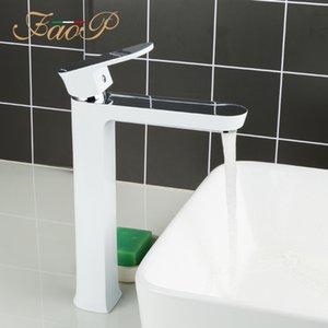 FAOP groß Bassinhahn weißen Waschbecken Hahn Wassermischer Deck Wannen Wasserfall tap torneira do anheiro A1099-8