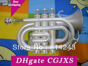 Alta Qualidade Bb bolso Trumpet Aparência jogo Hemp prata Bb bolso Trumpet Professional Musical Instrument bolso Trumpet