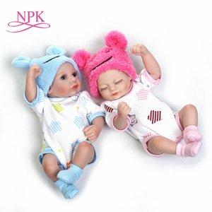 NPK 11 '' Mini Reborn Babies Girl Boy Boy Full Silicone Vinyl Lindo Twins Bebe Muñecas LifeLike Bebes Reborns para Niño Baño Muñeca LJ200827