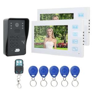 7inch TFT LCD Door Bell Waterproof Intercom Remote Control Password Card Door Phone 2 White Monitors 100 240v Doorbell