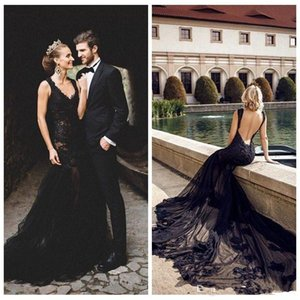 Black Lace Appliques Slim Mermaid Gothic Wedding Dresses 2021 Modest Bridal Gowns Sexy Backless Customized Long Vestidos De Marriage