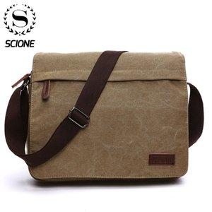 Scione Fashion Solid Canvas Messenger Satchel Bags Buckle Casual Portable Shoulder Bag Korean Trend Simple Pack For Men