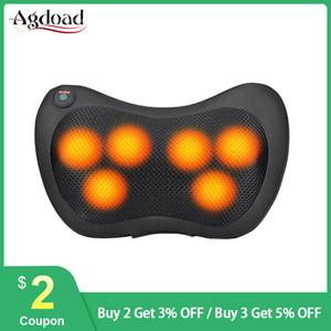 Black Massage Pillow 1 Button 4 6 8 Head Vibrator Hot Compress Kneading Infrared Therapy Shiatsu Neck Massager