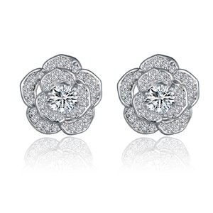 hot fashion Luxury ladies white Flower shape Crystal earrings with zircon ear-rings for women wedding classic jewellery Gift