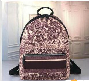 Nova Chegada designers de impressão de lona bolsa de viagem mochila carta zipper para as mulheres Escola sacos de grande capacidade saco de viagem 29 centímetros