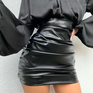 Natural Color Fashion A Line Skirts Casual Above Knee Skirts Women Clothes PU Pleated Panelled Designer Skirts