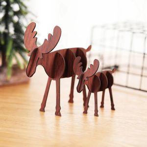 Wooden DIY Mini Elk Desktop Ornaments Merry Christmas Party Decor Crafts Decoration Hangs Accessories