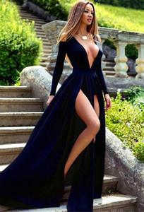 Neue Ankunft Langarm Tiefe V-Ausschnitt Satin Black Abendkleid Slit Party Kleider Oberschenkel-High Slits Freies Verschiffen