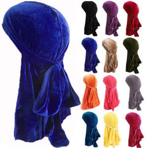 Unisex Velvet Durags Bandana Turban Hat pirate caps Wigs Doo Durag Biker Headwear Headband Pirate Hat Hair Accessories DHC3984