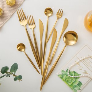 Gold cutlery cutlery two-piece frosted polished stainless steel 304 cutlery wedding tableware silverware