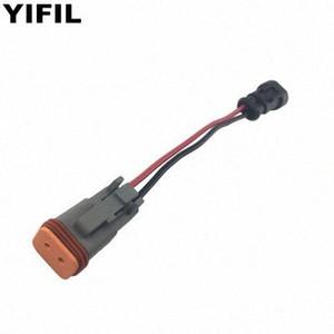 05.01 / 10s / lot 2 Pin-Stecker auf 2 Pin-Buchse Injector-Anschluss-Stecker mit Draht Kabel Pigtail Für Cummins M11 Auto K53b #