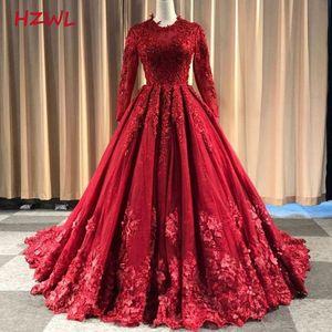 Красные кружевные Аппликации мусульманские свадебные платья 2021 Jewel Шея Длинные рукава линия Свадебные платья Zipper назад Покрытые кнопки Vestidos