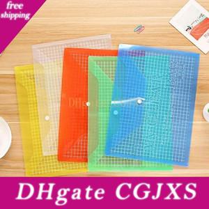 Neue Multifunktions-Farbgitter Büro A4 transparente Plastik Advertising Archives Tasche Pp Buckle Datei Tasche Student Paper Bag