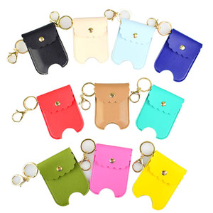 Hand Sanitizer Keychain 30ml Sanitizer Leather Keychain Portable Empty Leakproof Plastic Travel Bottle Holder Refillable Carriers